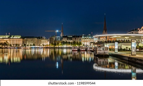 evening on the alster in hamburg