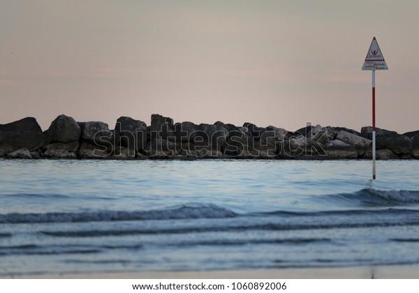 The evening on the beach