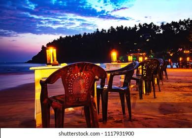 Evening on the beach of Mirissa, Sri Lanka