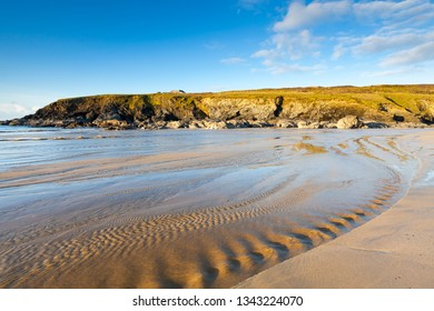 Evening on the beach at Poldhu Cove Cornwall England UK Europe