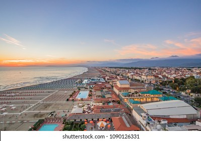 Evening on the beach of Viareggio, Tuscany, Italy