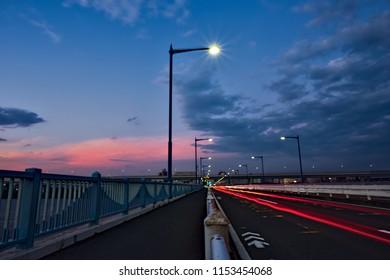 Evening on the Hirai Bridge, Tokyo