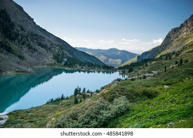 Evening on the Kuiguk lake in the Altai mountains, Russia