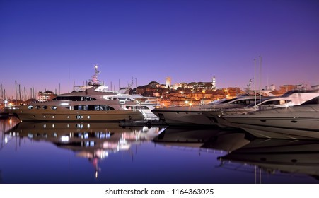 evening on the marina of cannes