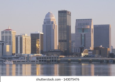 Evening on Ohio River and Louisville skyline, KY