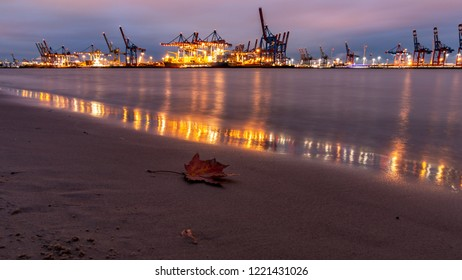 evening on the river in hamburg