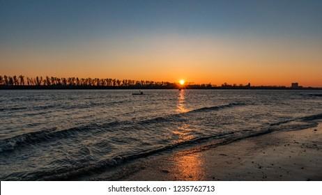 evening on the river in hamburg, elbe, sundown