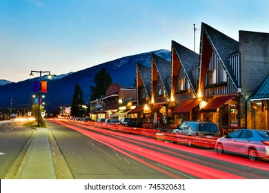 Evening on the streets in Jasper ,Canadian Rocky Mountains is a popular tourist destination.