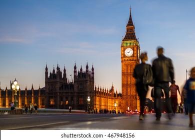 Evening on Westminster bridge, London