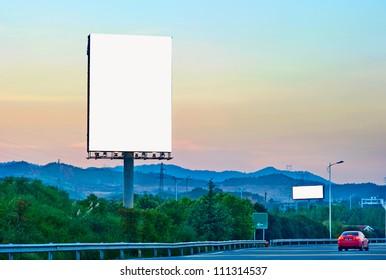 Evening, the outdoor blank billboards.