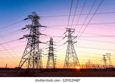 In the evening, the outline of the transmission tower