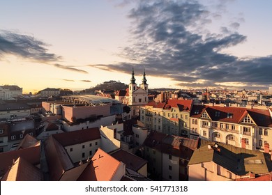 Evening over the city of Brno, Morawia, Czech Republic, Europe.