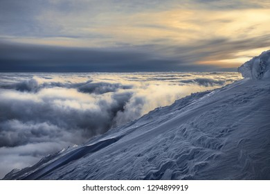 Evening over clouds in Karpaty mountains, Ukraine