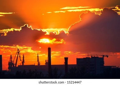 Evening over the industrial area of St. Petersburg