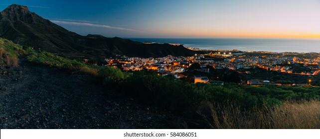 Evening panorama of Adeje town, Tenerife, Canary islands, Spain