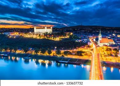 Evening Panorama of Bratislava, Slovakia