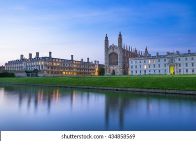 Evening panorama of Cambridge University and Kings College Chapel, UK
