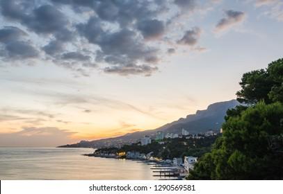 Evening panorama of the coast of Crimea at sunset