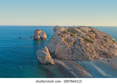 Evening panorama of the coastline in the area of the Stone of Aphrodite, Paphos, Cyprus, Petra tou Romiou