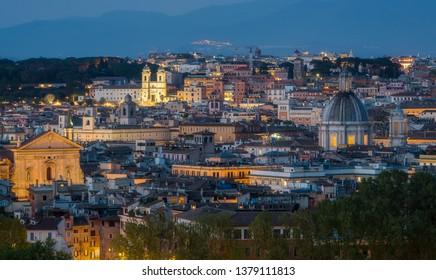 Evening panorama with Trinità dei Monti from the Gianicolo Terrace in Rome, Italy.