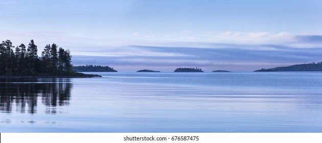 Evening panorama of Ladoga Lake