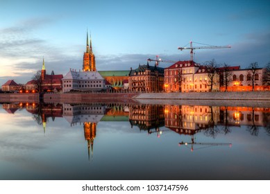 Evening panorama of the old city Wroclaw, Poland.