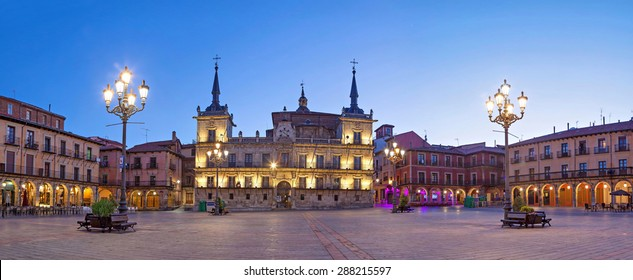 Evening panorama of Plaza Mayor in Leon, Castile and Leon, Spain