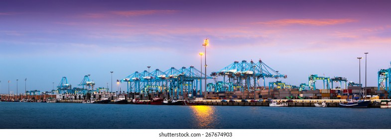 Evening panorama of  Port of Algeciras - one of  largest ports in Europe