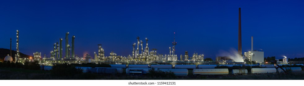Evening panorama shot druing blue hour of a large refinery and chemical plant complex.