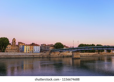 Evening panoramic view of the French city of Arles on the River Rhône. Provence. France.