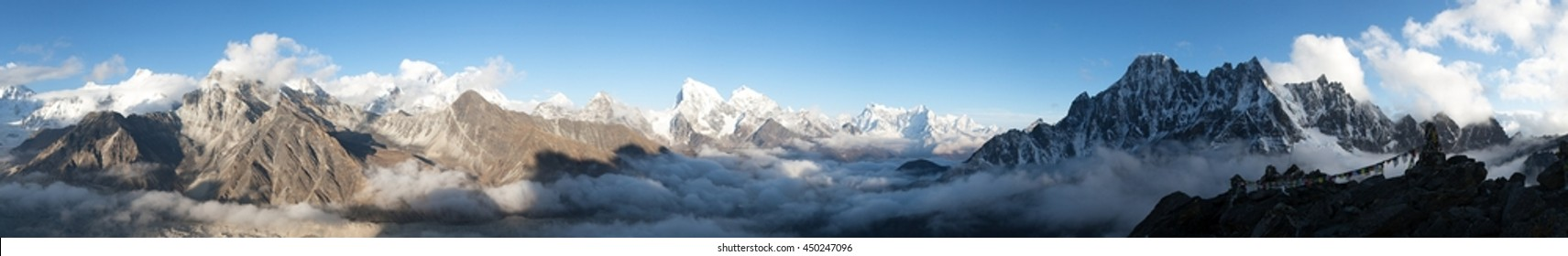 Evening panoramic view of Mount Everest, Lhotse and Makalu from Gokyo Ri - Khumbu valley, sagarmatha national park - Nepal