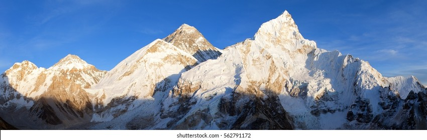 Evening panoramic view of Mount Everest from Kala Patthar - Way to Mount Everest base camp, Sagarmatha national park, Khumbu valley, Nepal