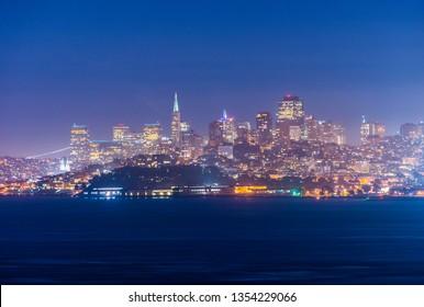 Evening photo of a San Francisco skyline seen from the Golden Gate bridge. California, USA