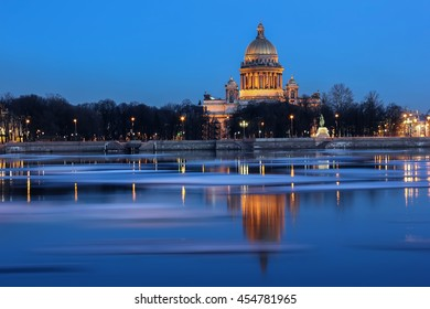 evening photograph of the English embankment in St. Petersburg ,Russia