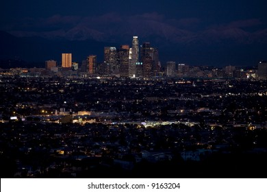 Evening photos of downtown Los Angeles with the lights of the city visible.