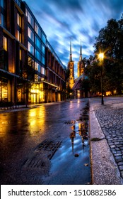 Evening photos of the old town. Wroclaw, Poland.