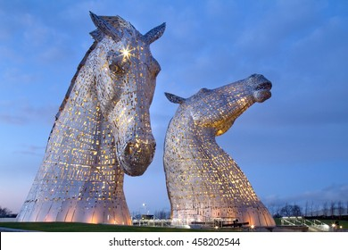 Evening picture at the Kelpies on the Forth and Clyde canal near Falkirk
