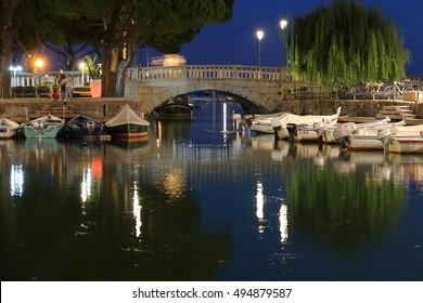 Evening pier Garda Lake Desenzano Italy September 18, 2016