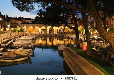 Evening pier Garda Lake Desenzano Italy, September 18, 2016
