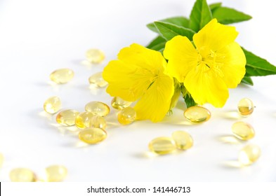 evening primrose with capsules