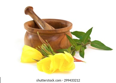 Evening primroses near wooden mortar and pestle on white background