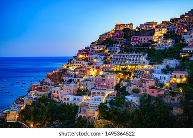 In the evening the quiet town of Positano on the Amalfi coast in Naples Italy.