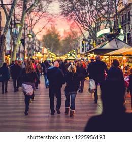 Evening Rambla Barcelona Catalonia Spain