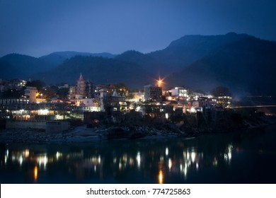 Evening Rishikesh. The Ganges River. India.