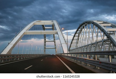 Evening road Crimean bridge