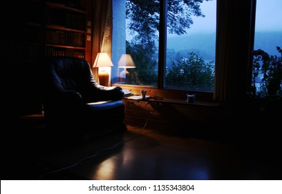 Evening room with lamp