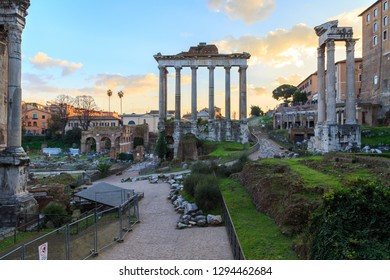 Evening at the ruins of the Forum Romanum in Rome, Italy.