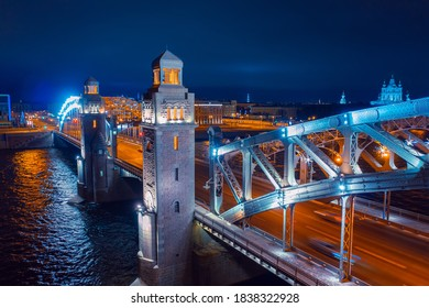 Evening Saint-Petersburg. View of the Russian city from a height. Bridges Of St. Petersburg. Petersburg rivers. Bolsheokhtinsky bridge over the Neva river. Peter the great bridge and Smolny Cathedral