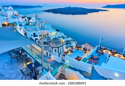Evening in Santorini - Thira town and Aegean sea at sundown, Greece - Landscape
