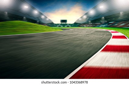 Evening scene asphalt international race track, digital imaging
